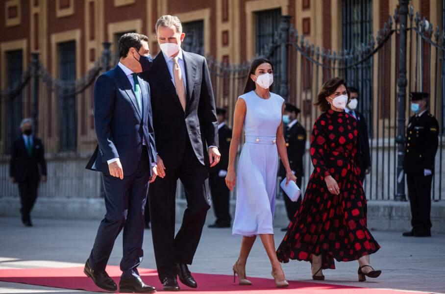 Le roi Felipe VI d'Espagne et la reine Letizia lors de la cérémonie de remise de médaille d'honneur d'Andalousie au roi le 14 juin 2021