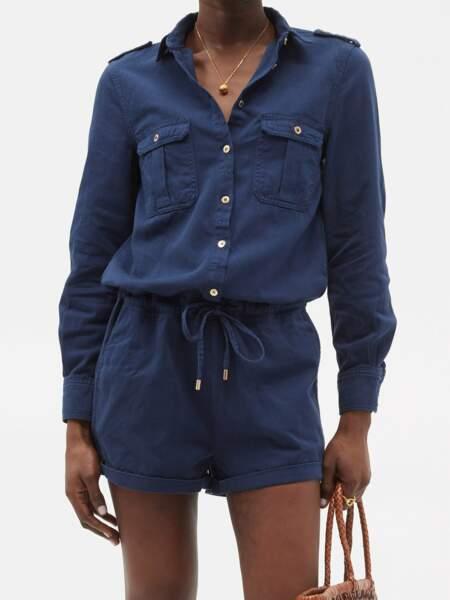 Combi-short en coton brossé Honour, 378€, Melissa Odabash sur Matchesfashion