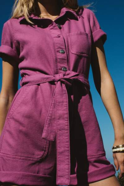 Combishort violette coton biologique, 145€, Balzac Paris