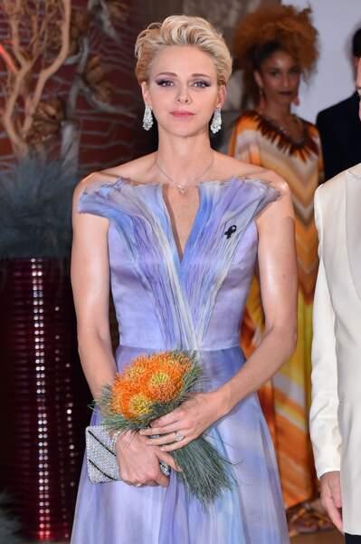 23 juillet 2016 : Charlene de Monaco en robe bustier lilas au gala de la Croix Rouge Monégasque