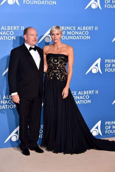28 septembre 2017 : Charlene de Monaco assiste aux côtés d'Albert au Gala pour l'Océan de Monte-Carlo