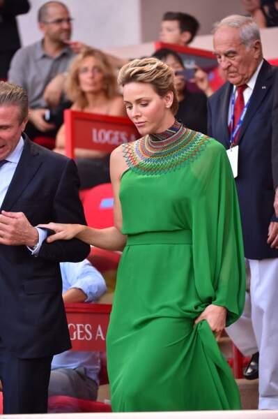 21 juillet 2017 : en robe asymétrique pour le meeting d'athlétisme Herculis