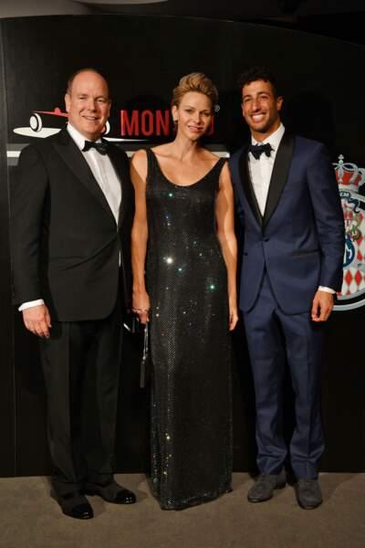 27 mai 2018 : Charlene de Monaco, en robe noire à strass, lors d'un gala en marge du Grand Prix de Monaco