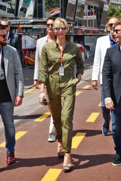 26 mai 2018 : la combinaison sporty chic de Charlene au Grand Prix de Monaco