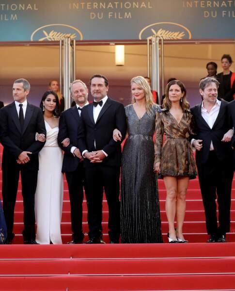 """Virginie Efira en 2018 au Festival de Cannes : elle  se distingue en robe de soirée lamée pour """" Le grand bain""""."""