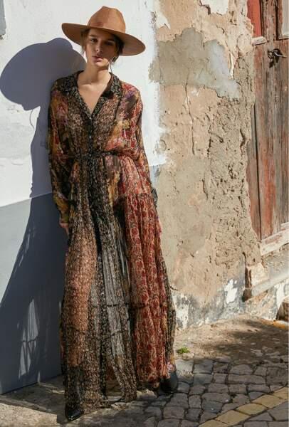 Robe longue Glaieul chemisier florale, 295€, Mes Demoiselles Paris