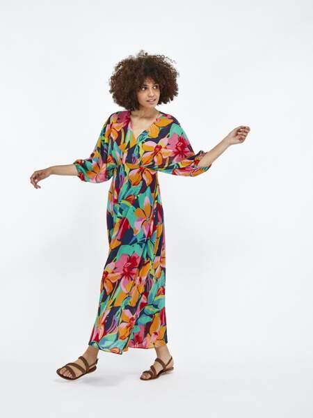 Robe longue imprimé floral, 89,99€, Naf Naf Paris