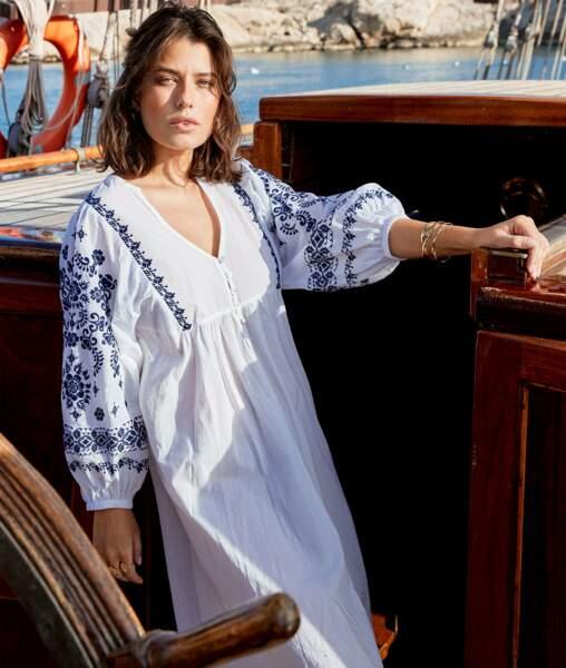 Robe longue brodée blanche, 139€, Maison 123 Paris