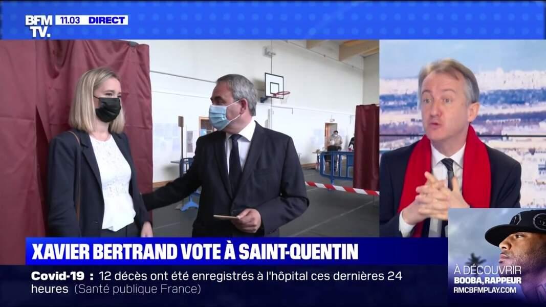 Xavier Bertrand et son épouse Vanessa Williot ont voté à Saint-Quentin, le 27 juin 2021
