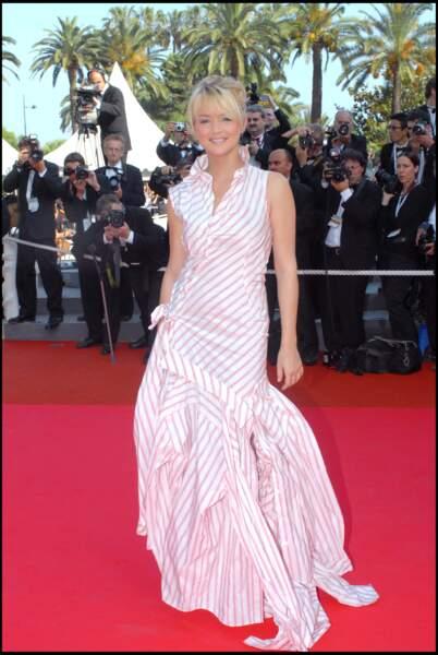 Virginie Efira en 2007 au Festival de Cannes : en robe longue rayée et forme trapèze