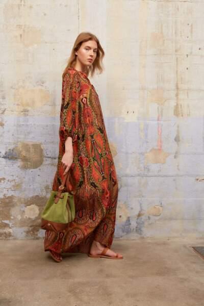 Robe longue en soie imprimée façon tunique Sahana, Gerard Darel