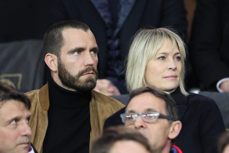 Robin Wright et son époux Clément Giraudet au Parc des Princes le 6 mars 2018