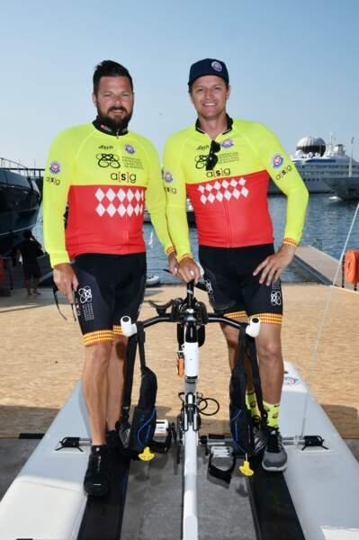 Sean et Gareth Wittstock lors du Water Bike Challenge, au profit de la Fondation princesse Charlene de Monaco au départ du Yacht Club de Monaco, le 17 juin 2018