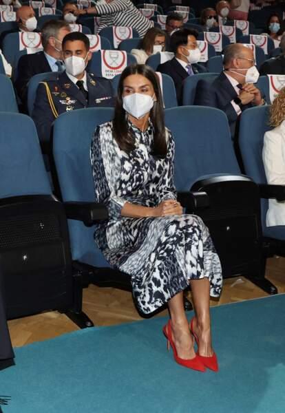 """La reine Letizia d'Espagne lors de la cérémonie d'ouverture du """"World Blindness Summit Madrid 2021"""" à Madrid. Le 28 juin 2021"""