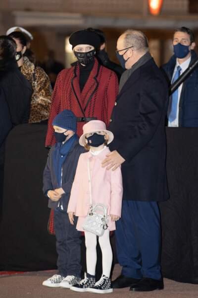 Le prince Albert II de Monaco, sa femme la princesse Charlene et leurs enfants le prince héréditaire Jacques et la princesse Gabriella durant la célébration de la Sainte Dévote, Sainte patronne de Monaco, à Monaco le 26 janvier 2021.