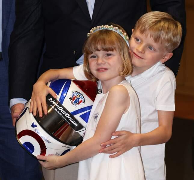 Le prince Jacques de Monaco, marquis des Baux, et la princesse Gabriella de Monaco, comtesse de Carladès, à la présentation d'une nouvelle voiture NASCAR à la Collection de Voitures de SAS le Prince de Monaco, le 21 mai 2021.