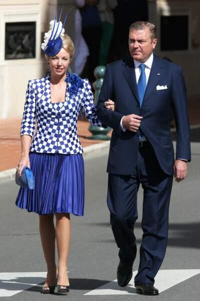 Charles et Camilla de Bourbon des Deux-Siciles arrivent au baptême des enfants princiers, à Monaco, le 10 mai 2015