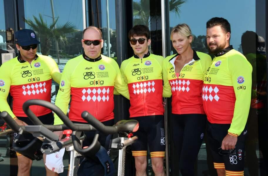 Sean et Gareth Wittstock complices aux côtés de leur soeur Charlene lors du Water Bike Challenge, au profit de la Fondation princesse Charlene de Monaco au départ du Yacht Club de Monaco, le 17 juin 2018