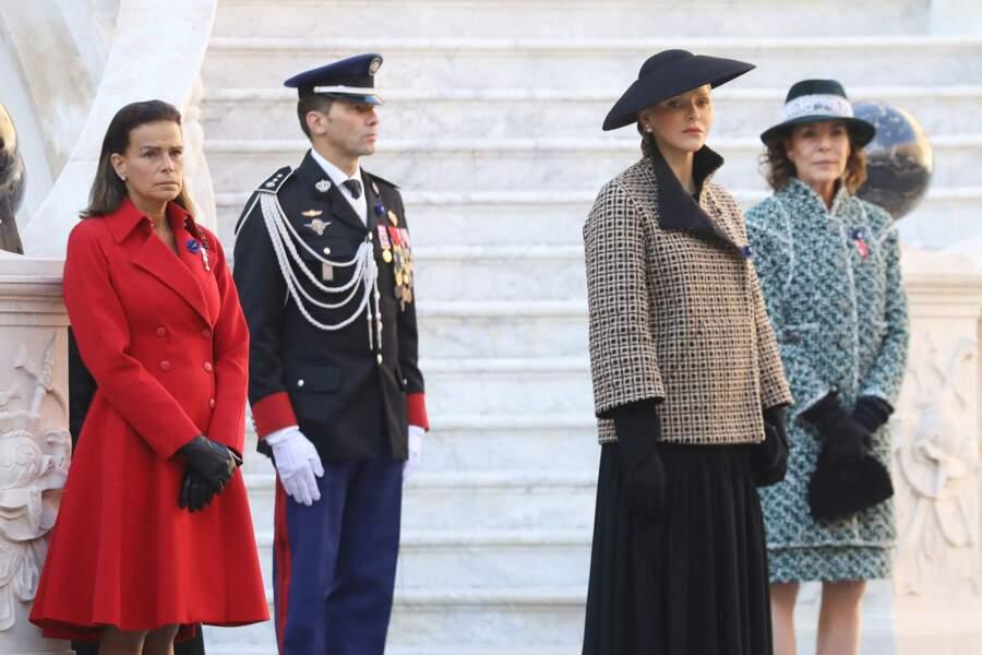 Charlene de Monaco, avec Stéphanie  et Caroline, toutes les trois élégantes, lors la Fête nationale monégasque, à Monaco, le 19 novembre 2018