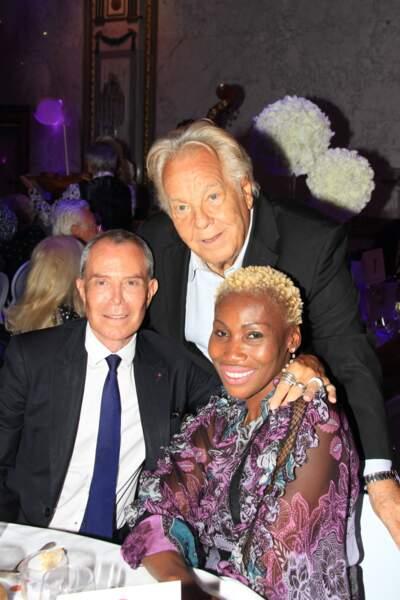 """Jean-Claude Jitrois, Nicole Coste et Massimo Gargia, lors de la soirée """"La Dolce Vita De Massimo"""", à Paris, le 30 juin 2021."""