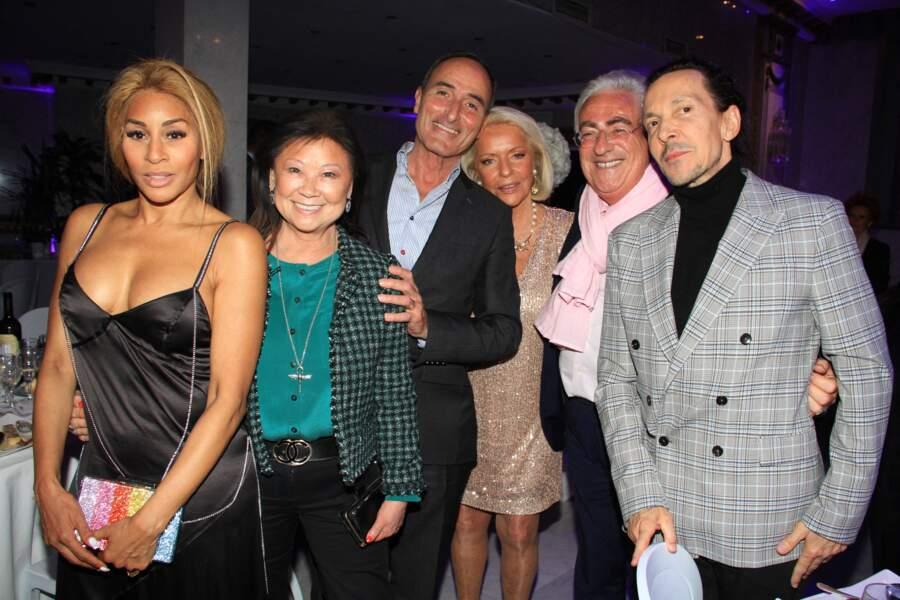 """La soirée """"La Dolce Vita De Massimo"""" a accueilli de nombreux invités, dont la chorégraphe Mia Frye, Jeanne d'Hauteserre, la maire du 8ème arrondissement de Paris, le chef d'entreprise Herve Michel Dansac, le promoteur Jean-Michel Aubrun et Michel Ressiga, l'époux de Mia Frye."""