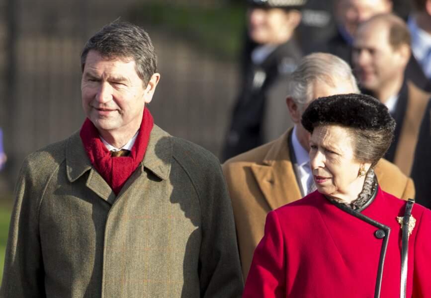 Timothy Laurence et la princesse Anne à Sandringham, le 25 décembre 2014