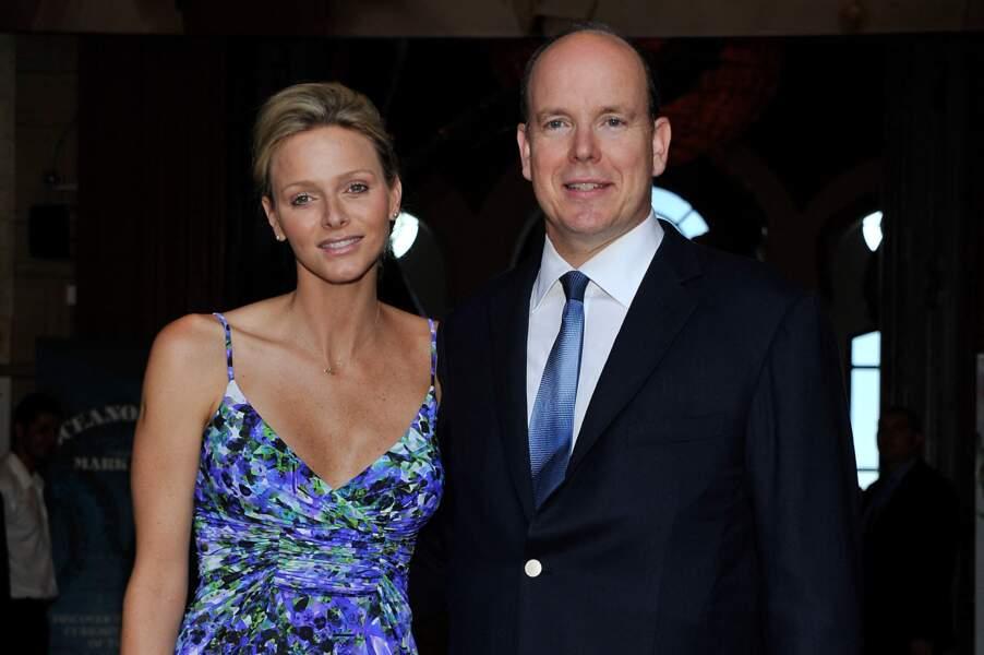 Le prince Albert de Monaco et son épouse Charlène à Monaco le 21 juillet 2011