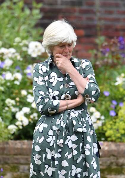 Lady Jane Fellowes émue, lors de l'inauguration de la statue de Diana dans les jardins de Kensington Palace à Londres, le 1er juillet 2021.