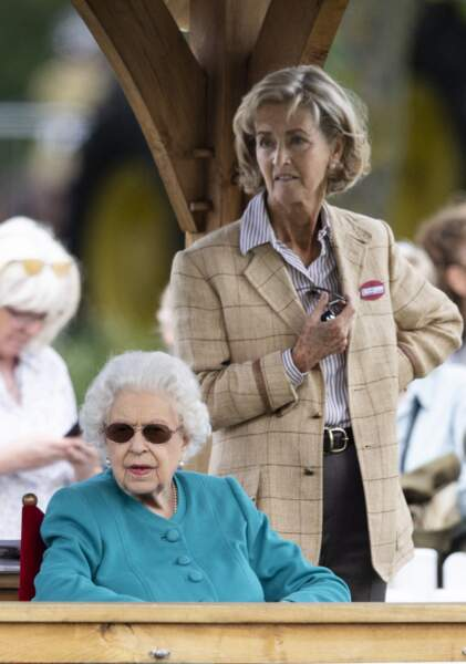 La reine Elizabeth II et Lady Penny, aussi pimpante l'une que l'autre, lors du Royal Windsor Horse Show à Windsor le 1er juillet 2021.