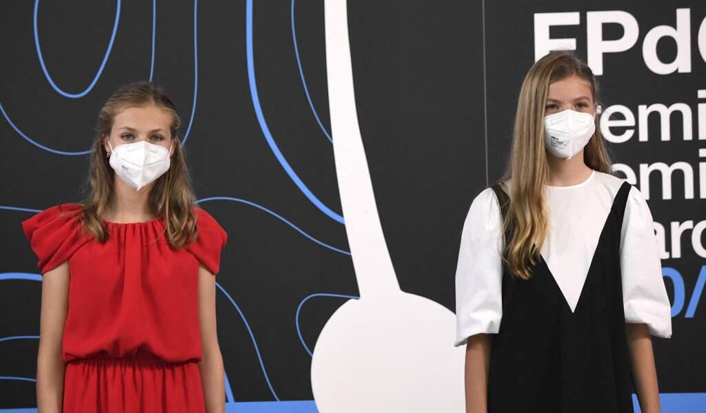 Sofia d'Espagne est venue soutenir sa soeur Leonor pour son discours au Caixaforum à Barcelone le 1er juillet 2021