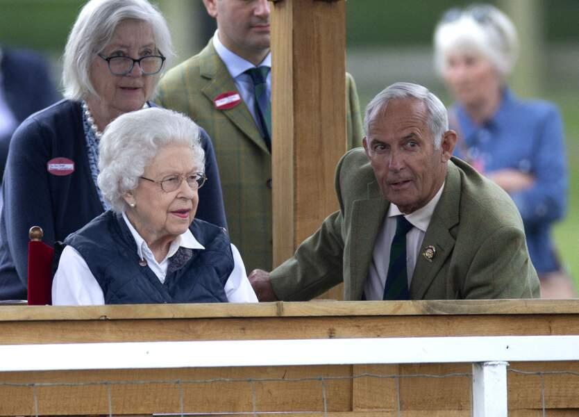 """La Reine a assisté, ce 2 juillet 2021, à la course hippique """"Royal Windsor Horse Show"""", le 2 juillet 2021 à Windsor."""