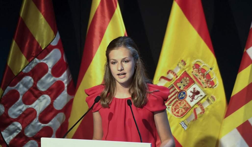 Leonor d'Espagne a fait tomber le masque pour prononcer son discours au Caixaforum à Barcelone le 1er juillet 2021