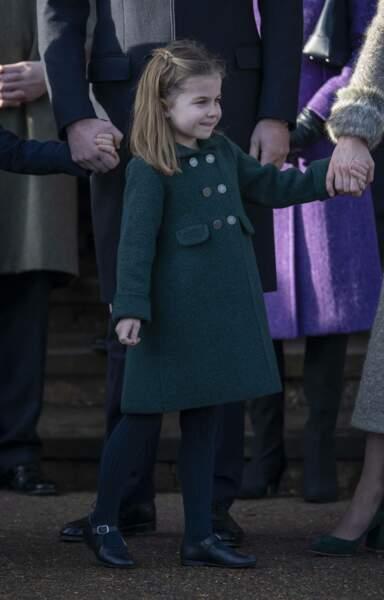 Princesse Charlotte à Sandringham, le 25 décembre 2019.