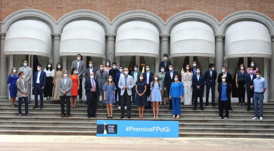"""La famille royale d'Espagne rencontre  les lauréats de la Fondation """"Princess of Girona"""" à Barcelone, le 1er juillet 2021"""