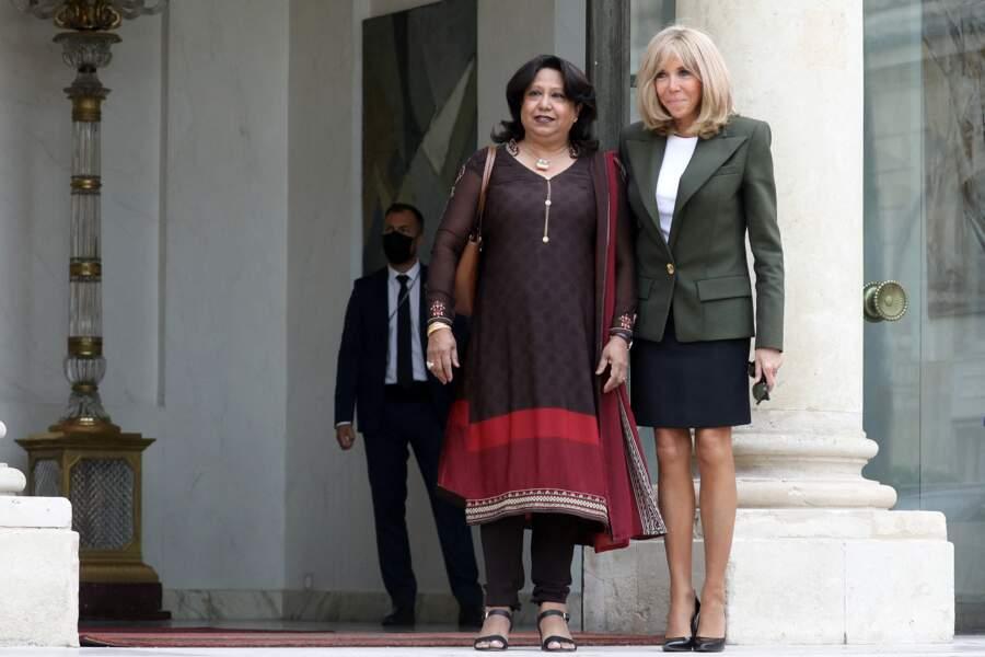 Brigitte Macron en jupe courte avec Pramila Patten Représentante spéciale de l'ONU sur la violence sexuelle dans les conflits armés.