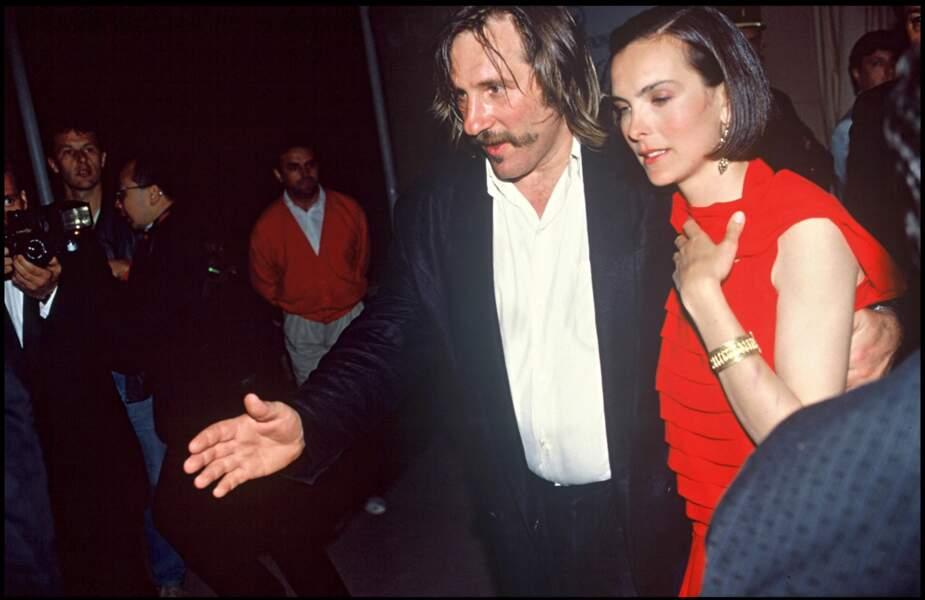 Gérard Depardieu et Carole Bouquet au Festival de Cannes en 1989.