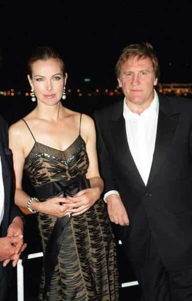 Gérard Depardieu et Carole Bouquet au Festival de Cannes en 2001.