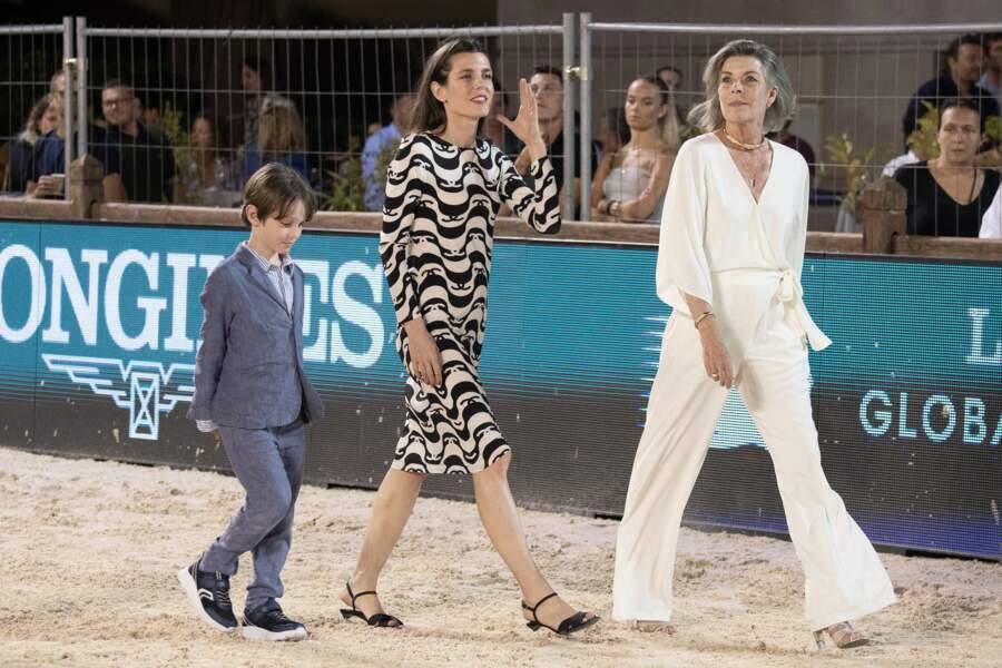 La princesse Caroline, sa fille Charlotte Casiraghi et son petit-fils, Raphaël lors du 15e Jumping de Monte-Carlo.