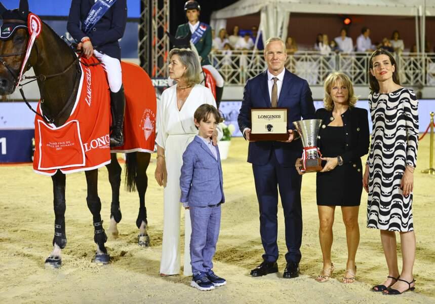 La famille princière de Monaco lors de la cérémonie de remise des prix du Jumping International de Monte-Carlo.