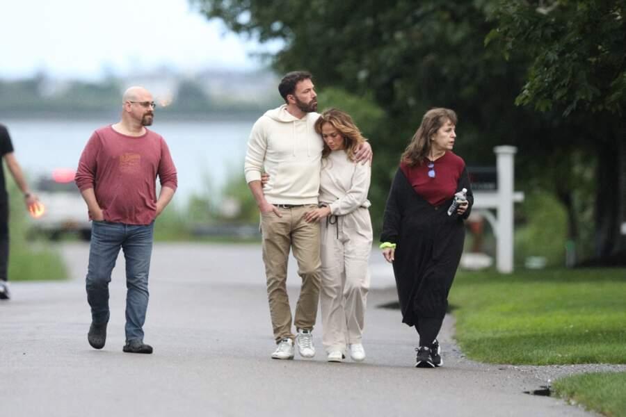 Dix-sept ans après leur rupture, le retour de flamme est incontestable entre Jennifer Lopez et Ben Affleck aperçus dans les Hamptons à New York, le dimanche 4 juillet 2021