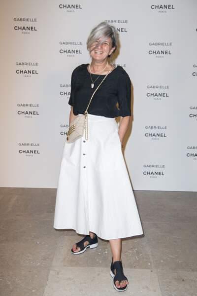"""Sophie Fontanel lors de la soirée de lancement du nouveau parfum Chanel """"Gabrielle"""" au Palais de Tokyo à Paris, France, le 4 juillet 2017."""