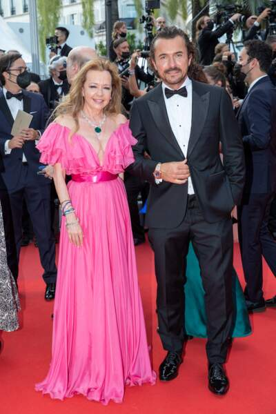 """Caroline Scheufele et William Abadie présents pour la montée des marches du film """"Annette"""" lors de la cérémonie d'ouverture du 74ème Festival International du Film de Cannes, le 6 juillet 2021"""