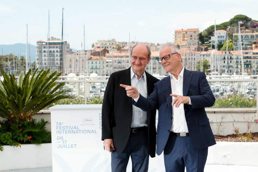 Pierre Lescure, président du festival de Cannes, Thierry Frémaux, délégué général du festival de Cannes - Photocall du 74ème Festival International du film de Cannes, le 6 juillet 2021.