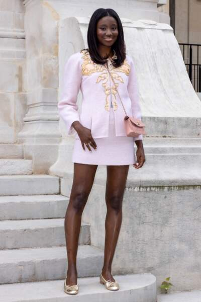 Karidja Touré au Front Row du 2ème défilé Chanel Haute-Couture Automne-Hiver 2021/22 au musée Galliera à Paris, France, le 6 juillet 2021.