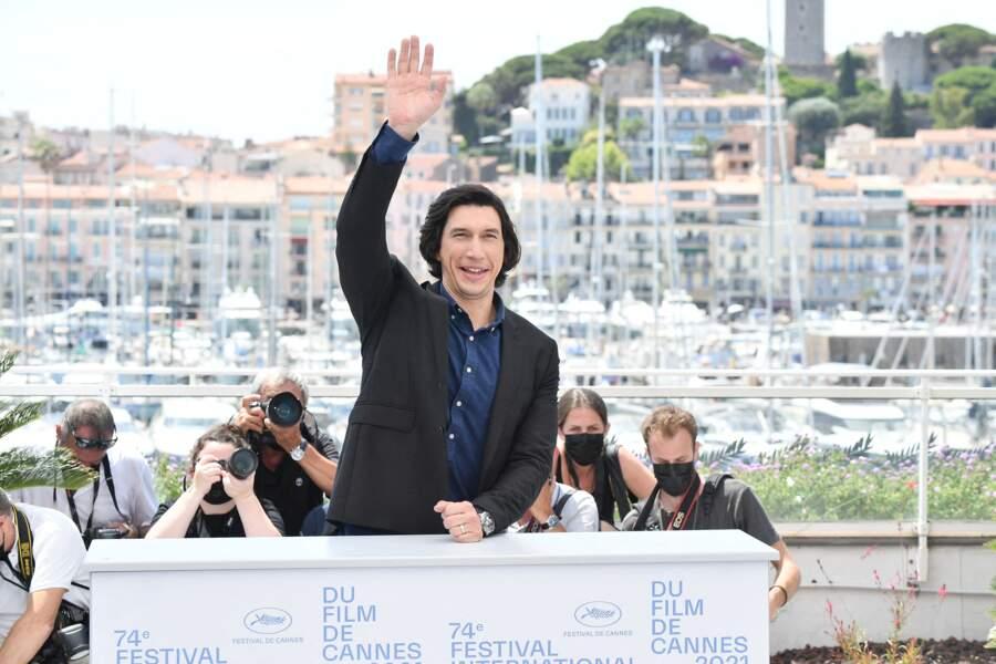 """Adam Driver avant la projection du film """"Annette"""", lors du 74ème festival international du film de Cannes, le 6 juillet 2021"""