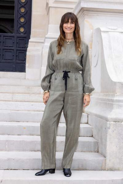 Caroline de Maigret au Front Row du 2ème défilé Chanel Haute-Couture Automne-Hiver 2021/22 au musée Galliera à Paris, France, le 6 juillet 2021.