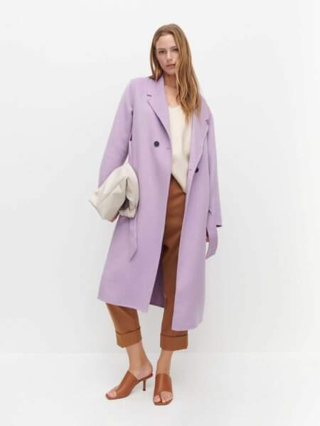 Manteau portefeuille en laine mélangée lilas, 109,99€, Reserved