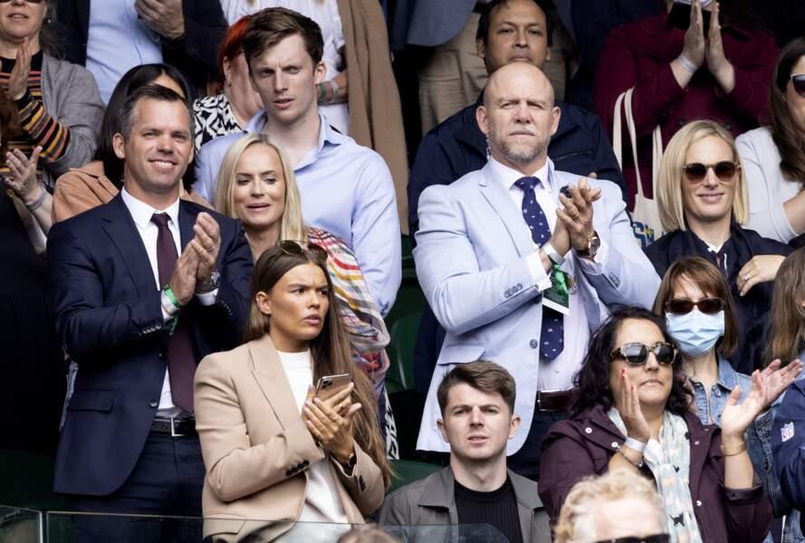Zara Phillips et Mike Tindall de fervents supporters lors du tournoi de Wimbledon, le 7 juillet 2021