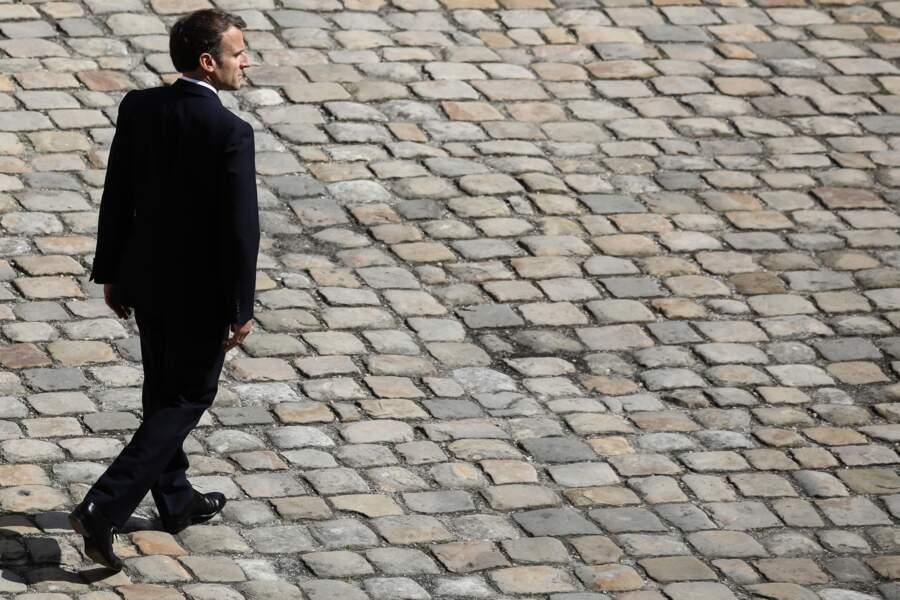 Emmanuel Macron, chef de l'État français, aux Invalides le 8 juillet 2021