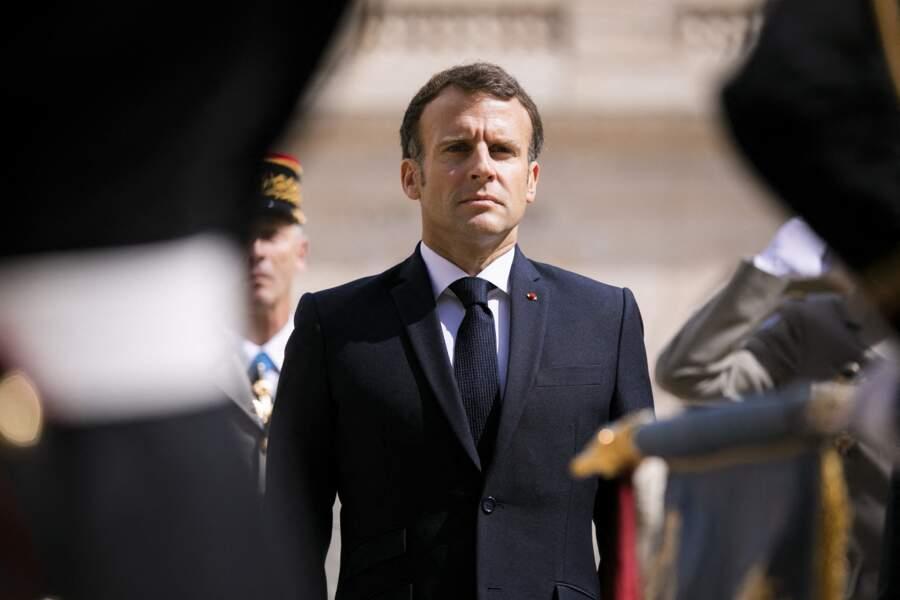 Emmanuel Macron, le 8 juillet 2021 aux Invalides, à Paris.